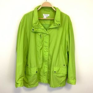 Coldwater Creek Nylon Jacket 3X Lime Green